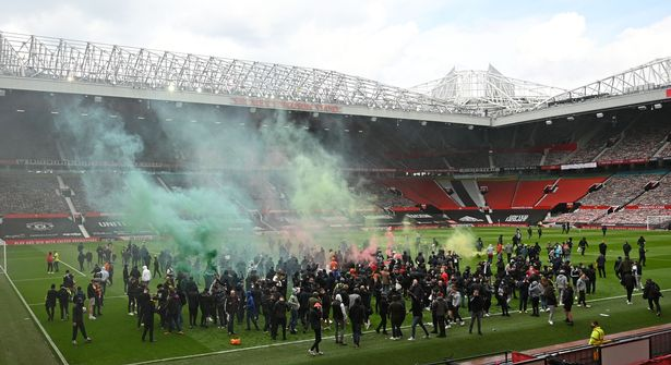 Supporters protest against Manchester United's owners, inside English Premier League club Manchester United's Old Trafford stadium in Manchester,
