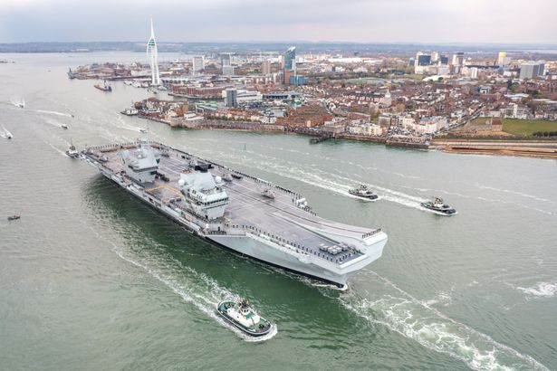 HMS Queen Elizabeth sets sail from Portsmouth on Saturday afternoon, on her 26,000 nautical mile maiden deployment