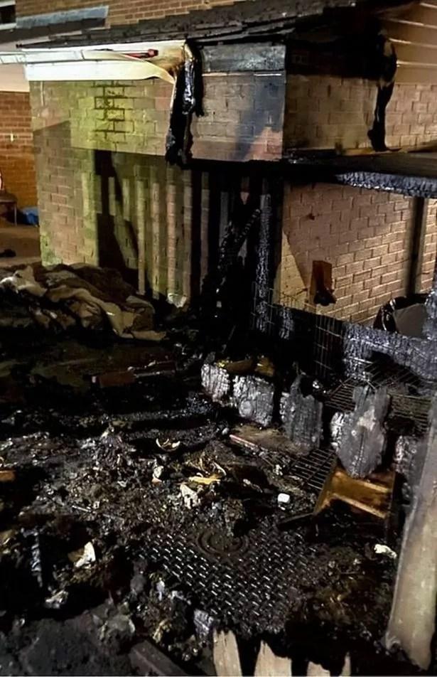 The devastation left after the blaze in a garden in County Durham