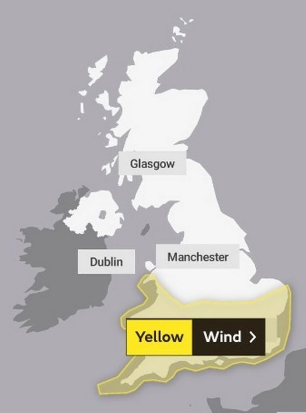 Weather warning map for Tuesday