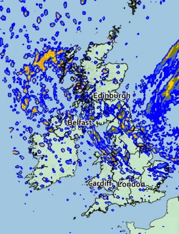 Rain map for Tuesday of the UK
