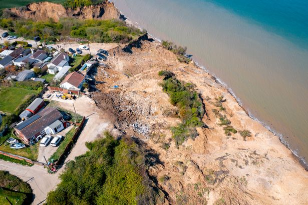 Aerial views of the retreating cliffs around Surf Crescent and Third Avenue in Eastchurch Kent