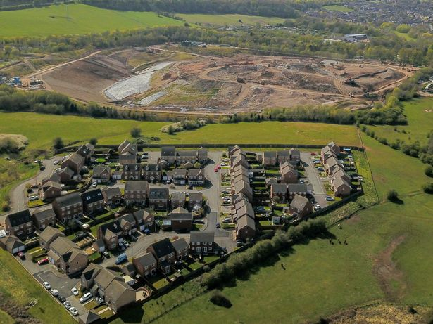 Aerial view of Walleys Quarry in Silverdale,