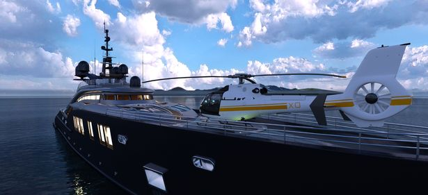 Unlike this luxury boat, the one owned by Jeff Bezos won't come with an on-board helipad