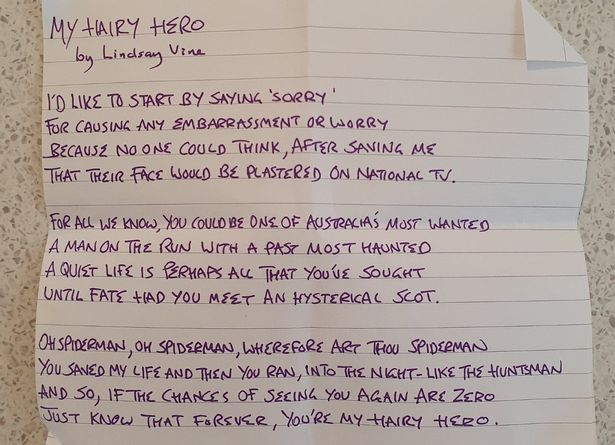 """Lindsay said that he wrote a poem as a thank you to the """"hero"""" who took the spider away"""