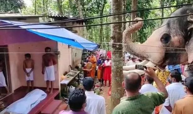 The devastated elephant, called Brahmadathan, walked two hours to say his final goodbye to rider Kunnakkad Damodaran Nair