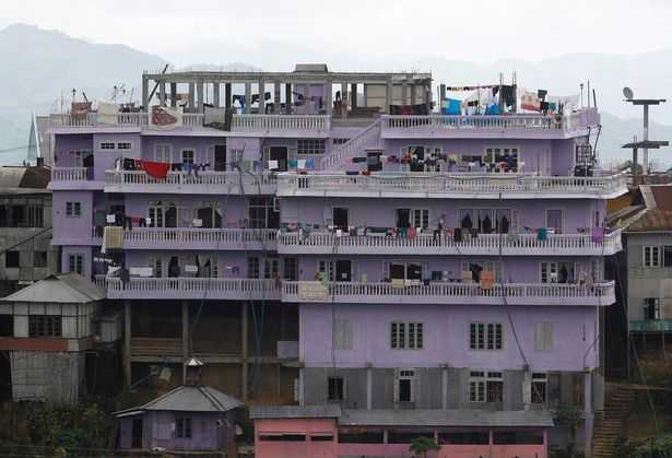 A view of Ziona's Chana's four-storey house in Baktawng village in the northeastern Indian state of Mizoram