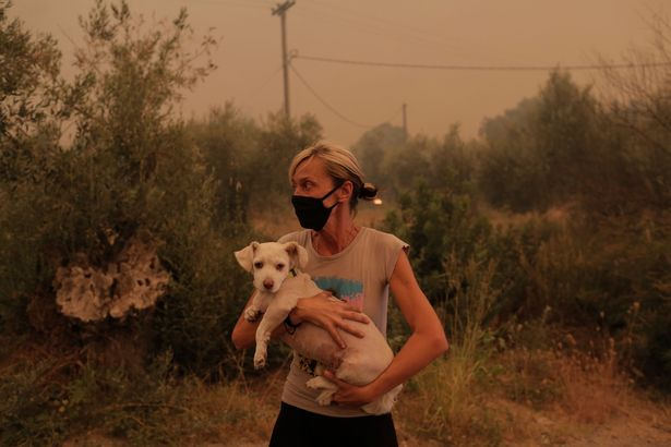 A local resident holds her dog that was rescued