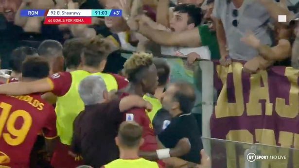 Mourinho joined in the celebrating mob of Roma players