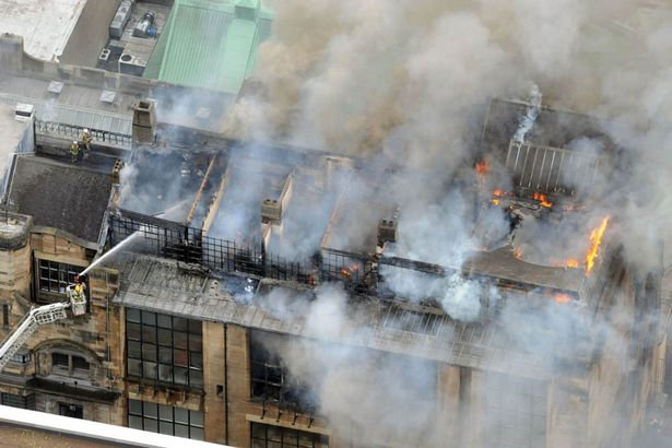 Aerial shot of Glasgow School of Art ablaze