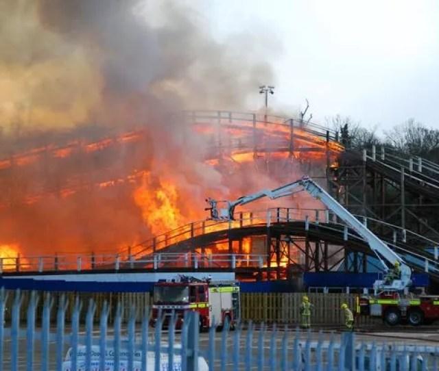 Scenic Railway On Fire At Dreamland Amusement Park Margate