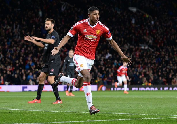 Marcus Rashford celebrates second goal for Manchester United