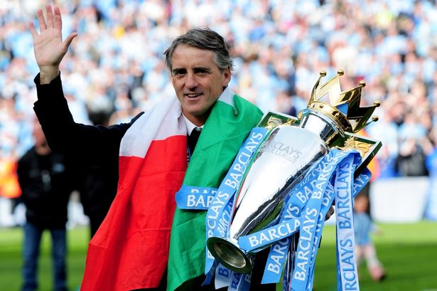 Image result for mancini premier league trophy