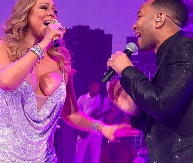 Mariah Carey And John Legend Perform Together Mariah Risked A Nipple Slip