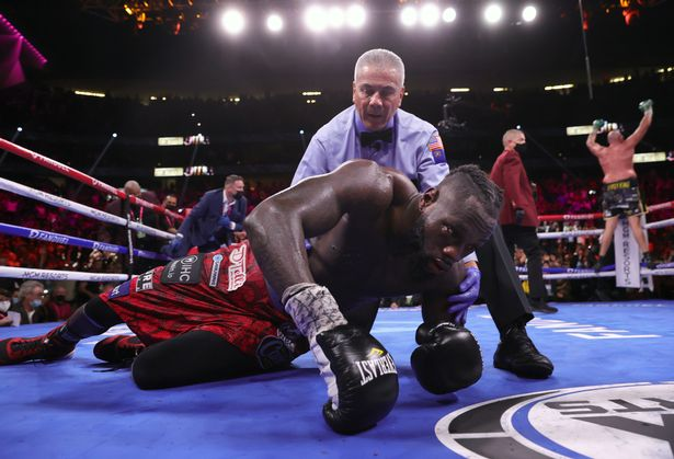 Tyson Fury (R) knocksout Deontay Wilder (L) during their fight for the WBC heavyweight championship at T-Mobile Arena on October 09, 2021 in Las Vegas, Nevada