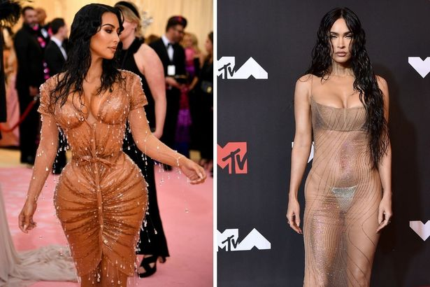 On the left, Kim in 2019, and on the right, Megan in 2021