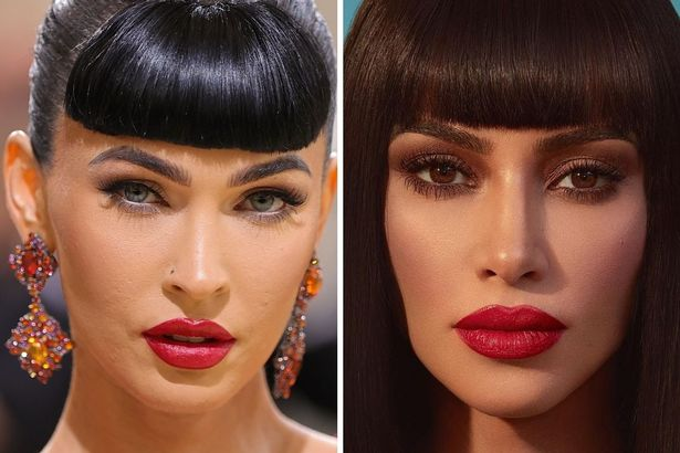 On the left, Megan with bangs and a red lip in 2021, and on the right, Kim with a similar look in 2019