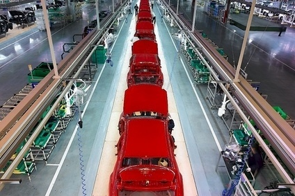 As well as three Hyundai plants with a fourth under consideration, the group has Kia plants in China - this is the trim line at the brands second factory in Jiangsu