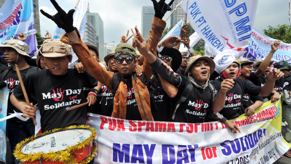 Indonesian workers in Jakarta celebrate May Day with a protest march, not a maypole.