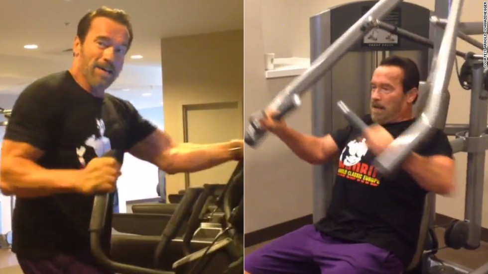 Image description: Arnold working out at a hotel gym. In the left frame he's using the elliptical machine and in the right frame he's using a chest press machine.