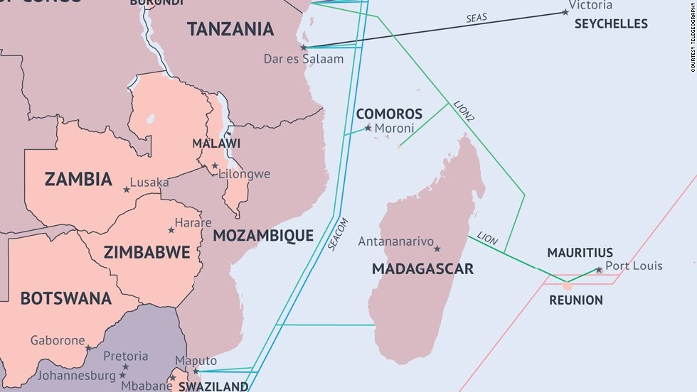 African Undersea Cables Map
