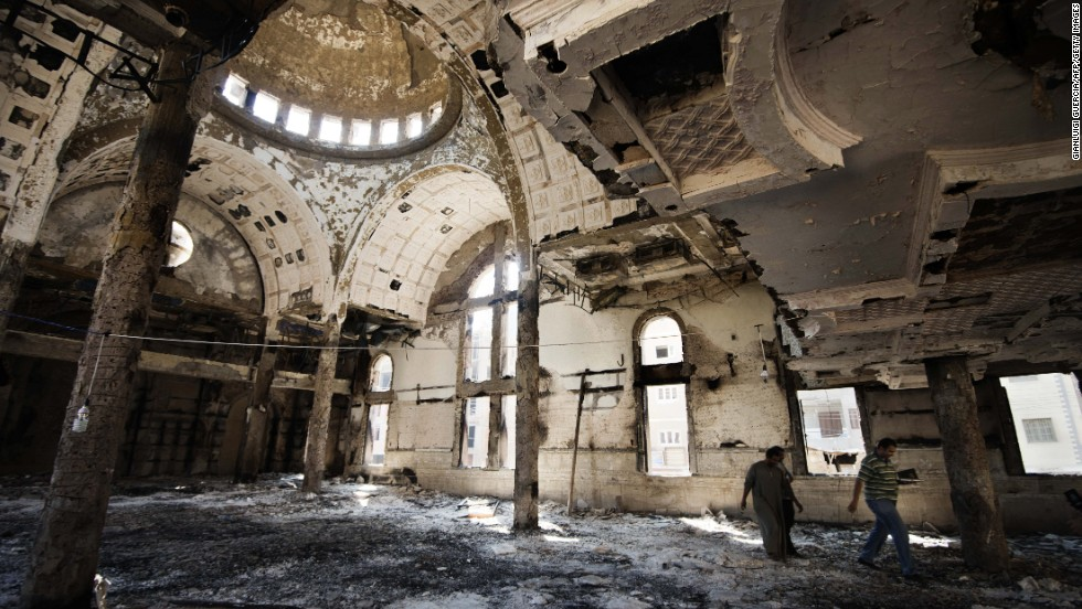 The debris at the Amba Moussa Coptic church after it was torched in 2013.