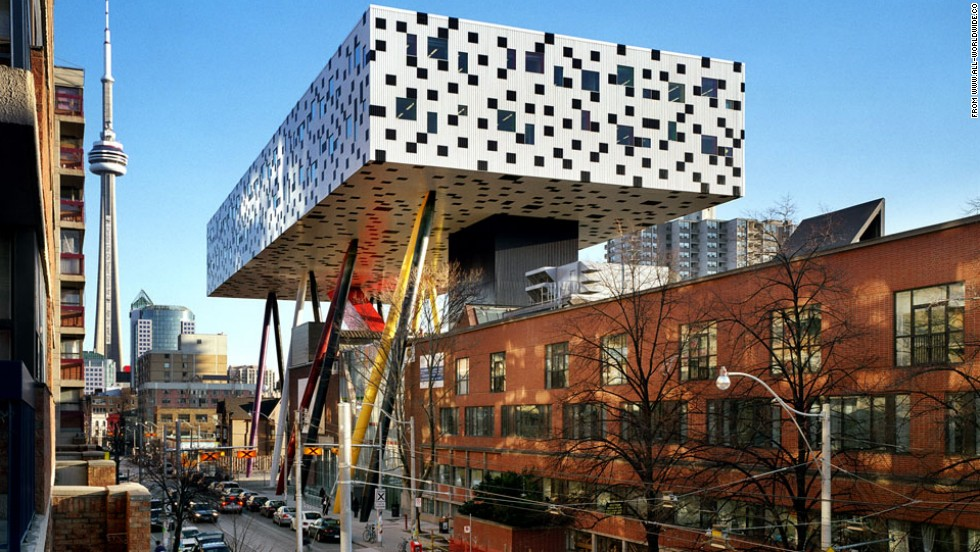 "Why build a regular school when you can make a stunning one? Architect <a href=""http://www.all-worldwide.com/who/us/?id=1348"" target=""_blank"">Will Aslop</a> answered that thought with the fun and colorful Sharp Centre for the Ontario College of Art and Design in Toronto, which balances on thin stilts."