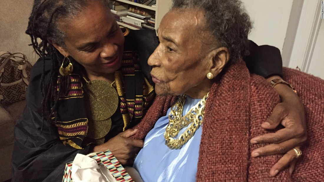 "Amelia Boynton Robinson, 103, chats with activist Faya Rose Toure before a special screening of ""Selma"" at Boynton Robinson's home in Tuskegee, Alabama."