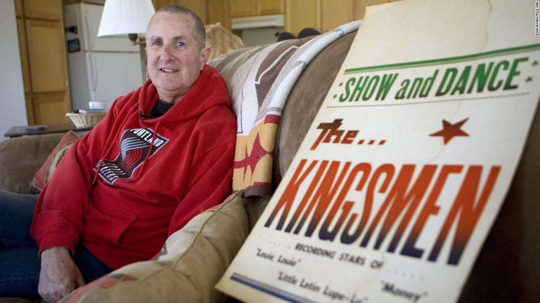"""FILE - In this April 16, 2009, file photo, Jack Ely, co-founder of the early 60's band The Kingsmen and best known for his 1963 rendition of the song """"Louie, Louie"""", poses for a photo at his home in Terre Bonne, Ore. Ely has died after a long battle with an illness, his son, Sean Ely, confirmed Tuesday, April 28, 2015. He was 71. (AP Photo/Don Ryan, File)"""
