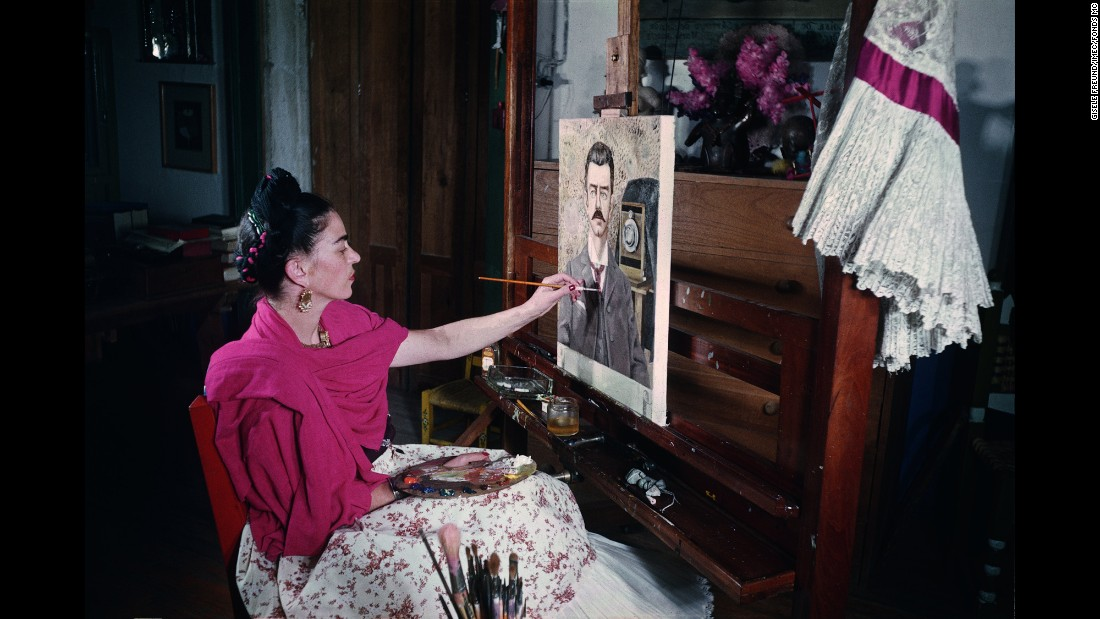 "Mexican painter Frida Kahlo works on her now-famous ""Portrait of My Father"" in 1951. As well-known for her independence as she is for her portraits, Kahlo is the subject of a new book containing never-before-seen pictures of her private life. <a href=""http://www.abramsbooks.com/product/frida-kahlo_9781419714238/"" target=""_blank"">""Frida Kahlo: The Gisele Freund Photographs"" is published by Abrams</a> and offers an intimate glimpse inside the world of the late artist."