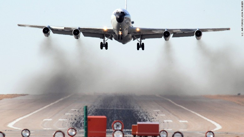 An WC-135W Constant Phoenix aircraft performs touch 'n go landing exercises at Offutt Air Force Base.
