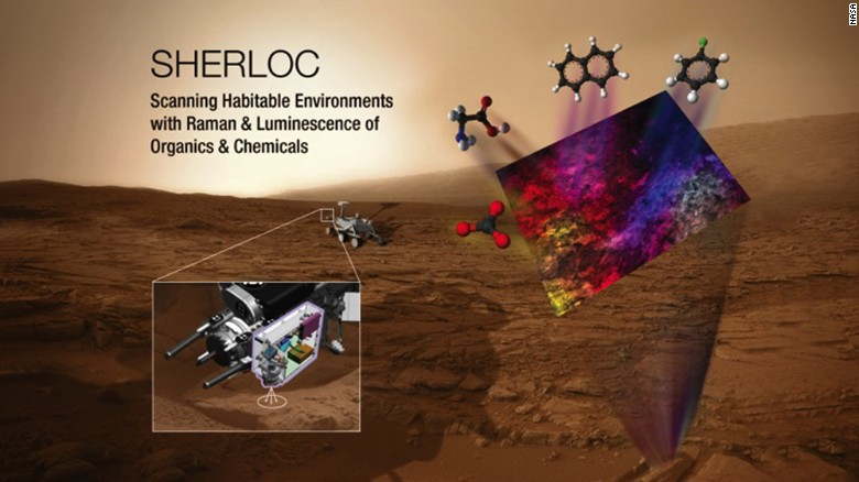 SHERLOC will use an ultraviolet laser to search for organic molecules and the mineral makeup of any rock or surface it images.