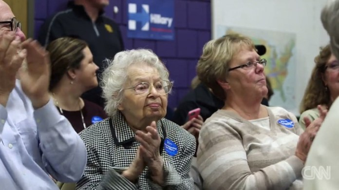 From February: Caucusing at 102 years old