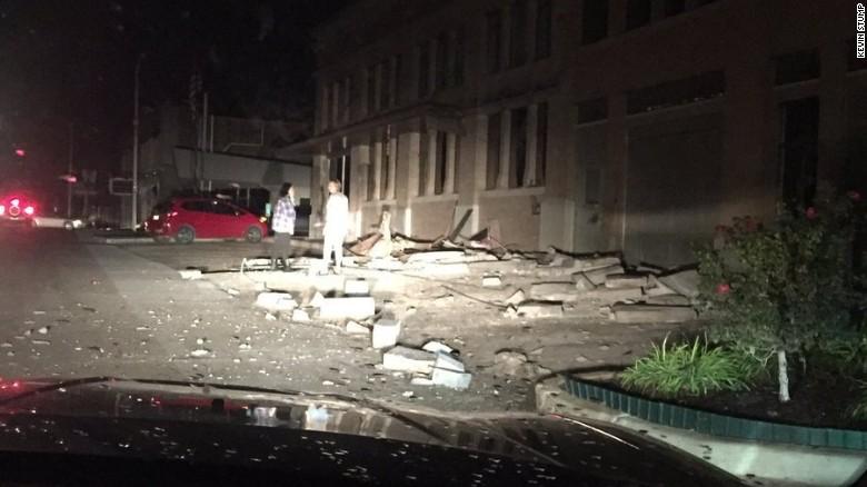 Damage from earthquake in Cushing, Oklahoma
