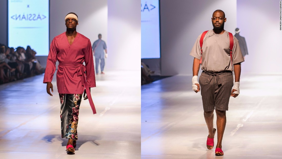 "Ngwube hired a veteran model to train her models four times a week, as some had never modeled before. ""The training was so they would be ready to face whatever kind of energy they would be meeting, because we didn't know what to expect.""<br />Pictured: Male models display creations from ÀSSIÀN."