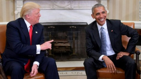 TOPSHOT - US President Barack Obama meets with President-elect Donald Trump in the Oval Office at the White House on November 10, 2016 in Washington, DC. / AFP / JIM WATSON (Photo credit should read JIM WATSON/AFP/Getty Images)