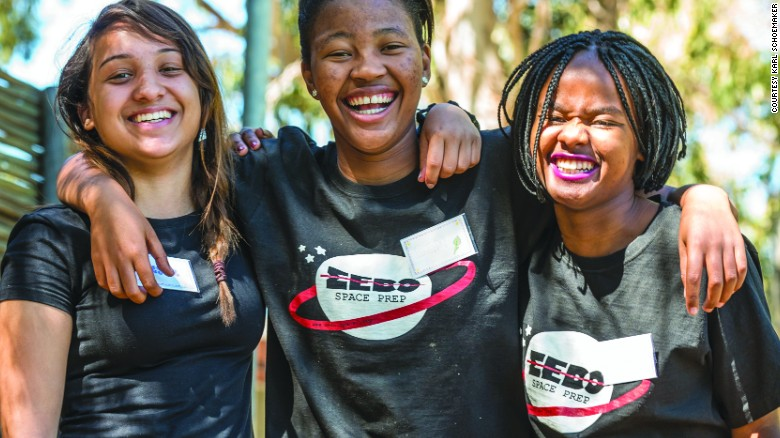 In May 2017, South Africa will launch the continent's first private satellite into space. It's been designed by school girls, within a STEM program. Pictured: Ayesha Salie, Sesam Mngqengqiswa, and Bhanekazi Tandwa on a learning boot camp with fellow teammates in Worcester, Western Cape Province, South Africa.
