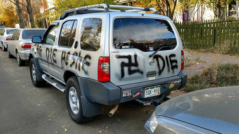 "The vehicle of a transgender woman in Denver was vandalized with a swastika, the words ""Trump"" and ""die,"" among other derogatory terms that were spray painted on it."