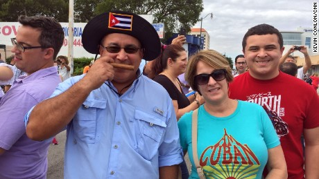"Jose Soto, with his wife, Alicia, and son Jorge in Miami, touts the ""smell of freedom"" coming to Cuba."