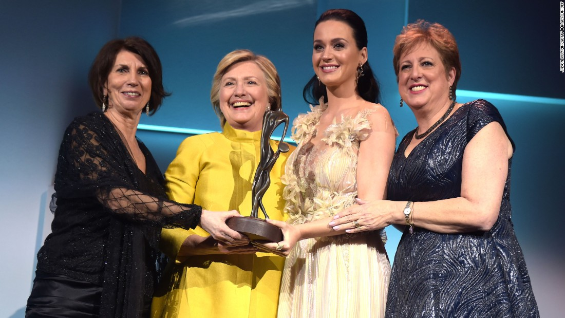Pamela Fiori, Hillary Clinton, Katy Perry and Caryl Stern at the 12th annual UNICEF Snowflake Ball in New York City.