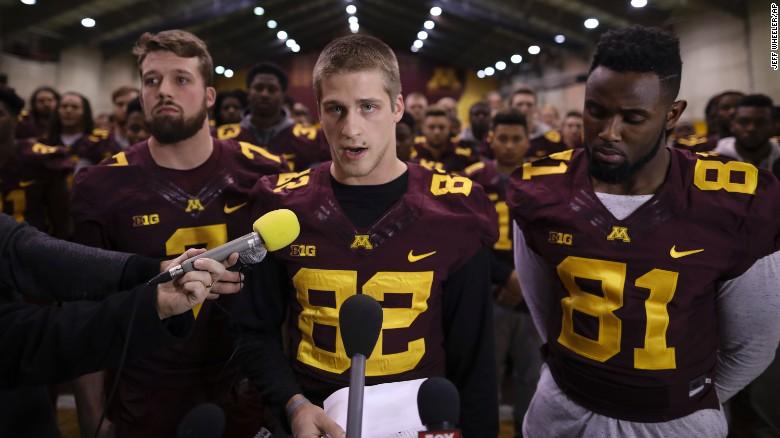 University of Minnesota wide receiver Drew Wolitarsky, center, announced the boycott Thursday.