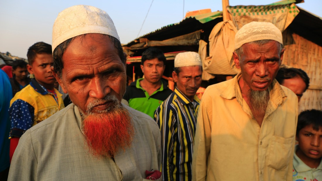 Rohingya men inside the Rohingya camp, Teknaf, Bangladesh.