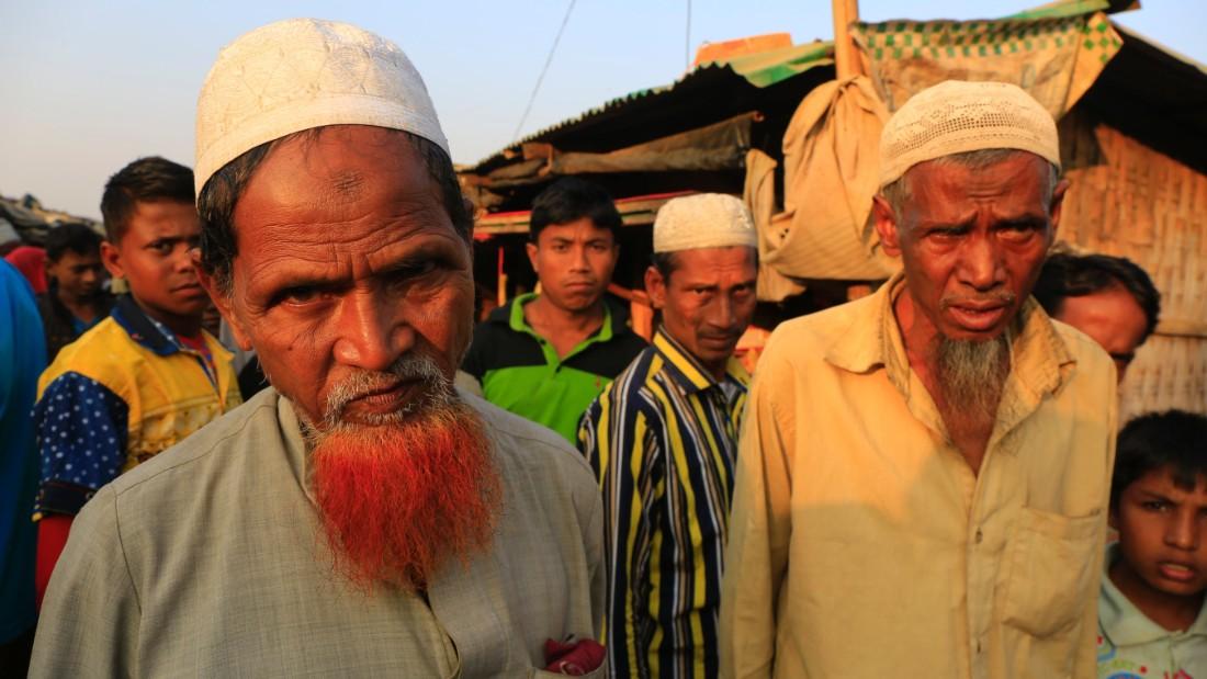 Rohingya men inside the Rohingya camp, Teknaf, Bangladesh.
