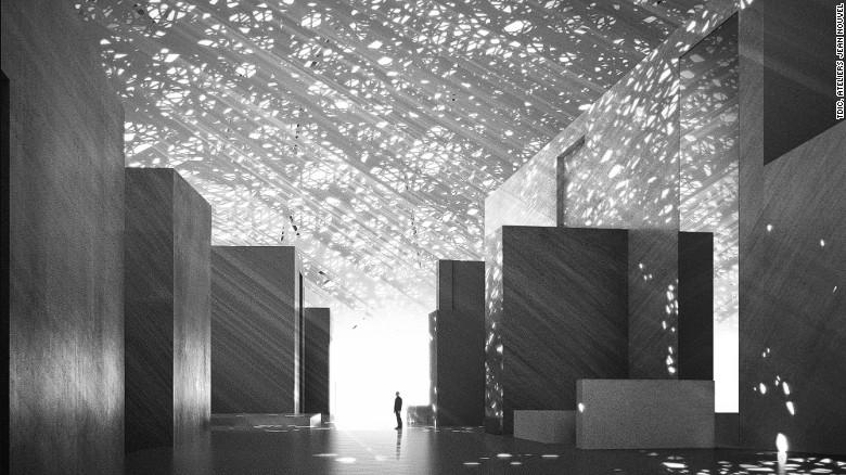 Ateliers Jean Nouvel ha preso ispirazione dalla zona & # 39; s geografia e storia.  Ad esempio, una cupola di metallo perforato copre il museo, rovesciando luce morbida, calmante nei corridoi.