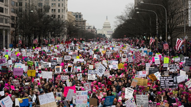 "A large crowd walks down Pennsylvania Avenue after the start of the Women's March on Washington in Washington, D.C., on Saturday, January 21. Organizers said the march is sending a message to Donald Trump that ""women's rights are human rights."" Similar protests unfolded across the country."