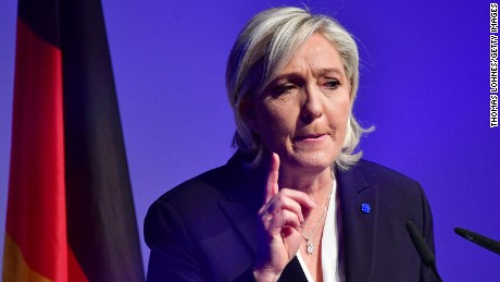 KOBLENZ AM RHEIN, GERMANY - JANUARY 21:   Marine Le Pen, leader of the French Front National political party, speaks at a conference of European right-wing parties on January 21, 2017 in Koblenz, Germany. In an event hosted by the Europe of Nations and Freedom political group of the European Parliament, leading members of the Front National of France, the Alternative for Germany (AfD), the Lega Nord of Italy, the Austria Freedom Party and the PVV party of the Netherlands are meeting for a one-day conference. France, the Netherlands and Germany all face national elections this year and in each case right-wing populists are in a strong position. (Photo by Thomas Lohnes/Getty Images)