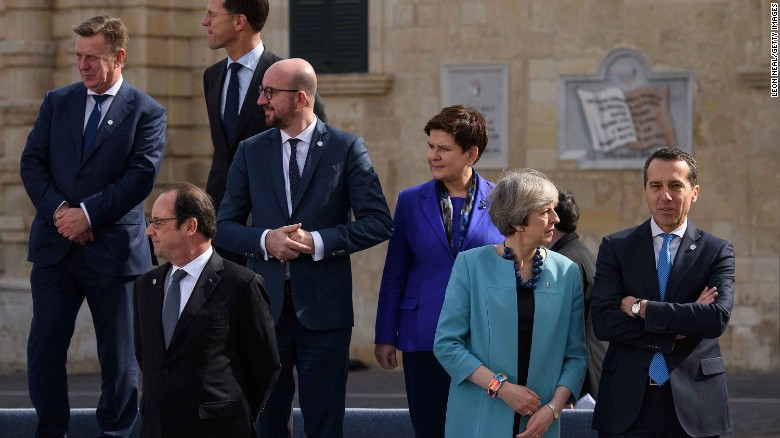 French President Francois Hollande, bottom left, hit out at Trump at the Malta summit