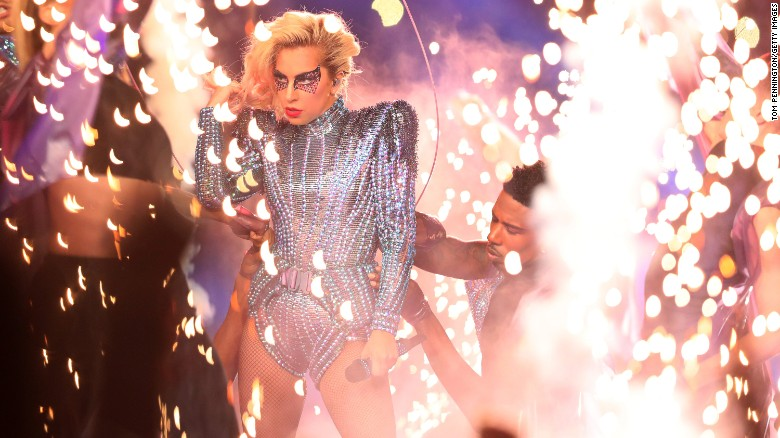 "Pop star Lady Gaga performs during the <a href=""http://www.cnn.com/2017/02/05/sport/gallery/super-bowl-li/index.html"" target=""_blank"">Super Bowl LI </a>halftime show on Sunday, February 5."