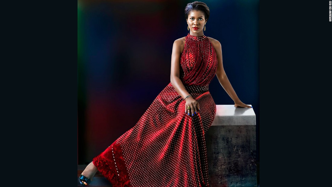 """Okereke Linus """"has an imposing physicality,"""" explained Udé, """"yet sweet and a positively sunny personality."""" He added; """"since she has this incredibly powerful persona, I wanted to explore the possibility of a dramatic tension"""" hence the """"unexpected stretch of a leg."""" <br />"""