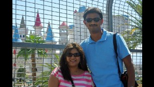 Srinivas Kuchibhotla with his wife Sunayana Dumala.